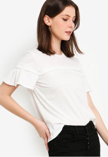 ZALORA 白色 短袖品牌刺繡T恤 2045CAA6B8F447GS_1
