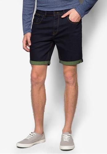 撞zalora 包包 ptt色反折丹寧短褲, 服飾, 短褲