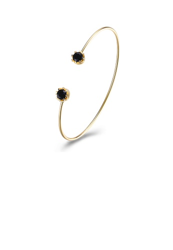 Glamorousky black Simple Plated Gold Geometric Open Bangle with Black Cubic Zircon 79004ACC0262FDGS_1