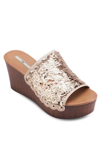 閃飾寬帶楔型涼鞋、 女鞋、 鞋Nose閃飾寬帶楔型涼鞋最新折價