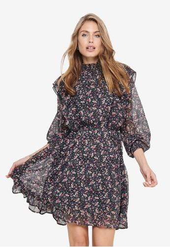 ONLY black Jennifer Long Sleeve Flounce Dress D4898AA763E002GS_1