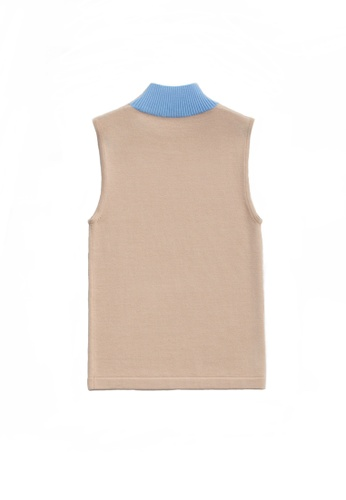 KLAPS 米褐色 美麗諾羊毛雙色高領針織上衣 0B339AA3F90371GS_1