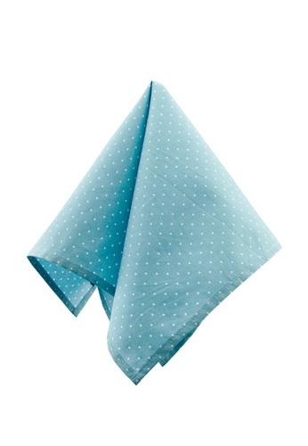 Caveman blue Turquoise Dot Pocket Square 3204BACCAFDAC4GS_1