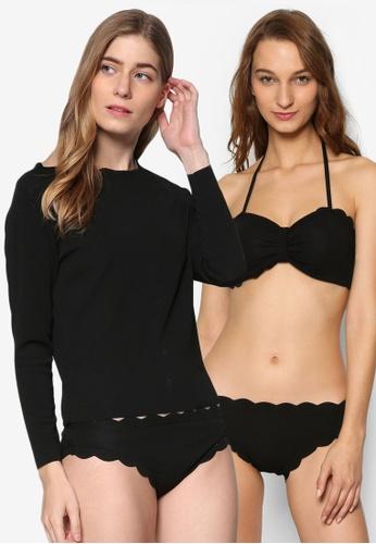 PINK N' PROPER black Thalassa Scallop Hem Three Piece Long Sleeve Swimsuit PI108US55RQUMY_1
