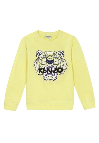 KENZO KIDS black and yellow and blue and multi KENZO TIGER SWEATSHIRT FOR GIRLS AF6D8KA2FA7C4BGS_1