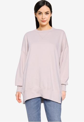 Abercrombie & Fitch grey Split Hem Tunic Sweater 633D7AA2847CE9GS_1