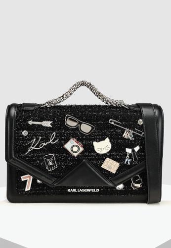 97281b4ca477 KARL LAGERFELD black Klassik Pins Shoulder Bag CDBD2AC486D174GS 1