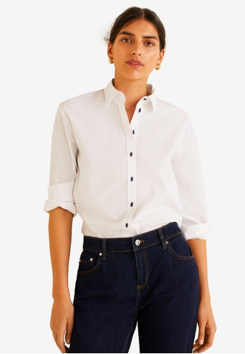 Mango white Contrasted Buttons Shirt F4035AA57175B9GS_1