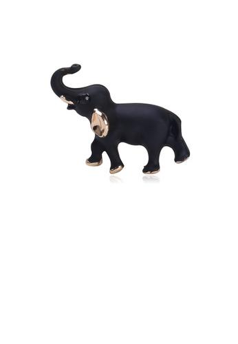 Glamorousky black Simple and Cute Black Elephant Brooch D8F03AC36B66B2GS_1