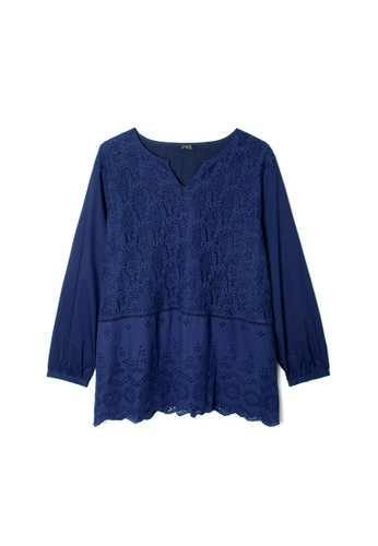 MS. READ navy MS. READ Embroidered Peasant Top (NAVY) B74A2AA395FF80GS_1
