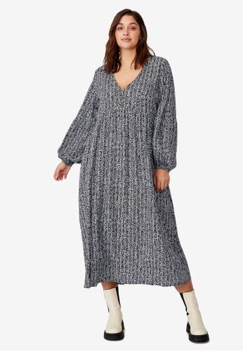 Cotton On black Plus Size Woven Linda Long Sleeve Maxi Dress 8D071AA1C3F3D3GS_1