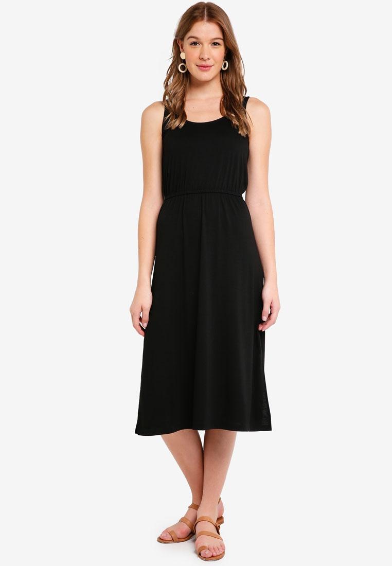 Drawstring ZALORA Black BASICS Basic Dress Midi Ow1qqZga