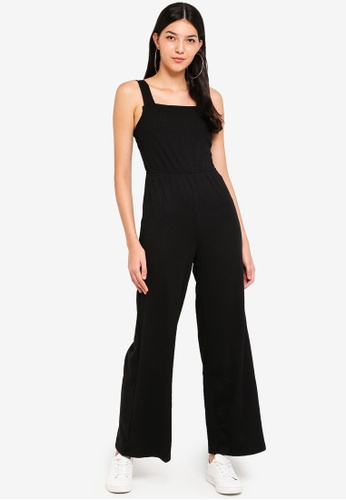 Supre black Square Neck Rib Jumpsuit 69421AA0C259C3GS_1