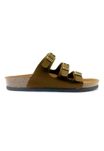 SoleSimple 褐色 Ely - 駱駝色 百搭/搭帶 全皮軟木涼鞋 4D593SHC482AB8GS_1