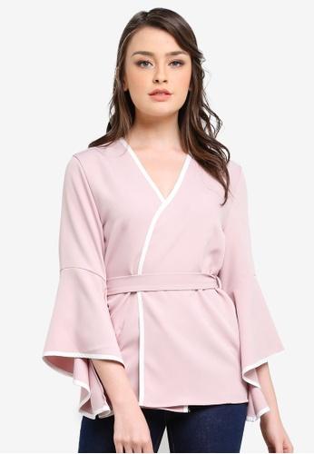 Zalia pink Contrast Binding Soft Blazer A8C09AACF45732GS_1