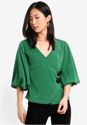 BYSI green Button Wrap Puff Blouse D892CAA9812103GS_1