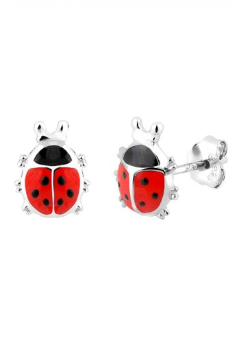 Elli Germany red Perhiasan Anak Perak Asli - Silver Anting Lady Bug-Kumbang Merah Merah 29763AC7ABF7E9GS_1