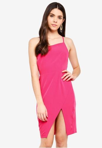 Vesper pink Vesper Tabby Asymmetric Dress With Strap E8066AADFF2237GS_1