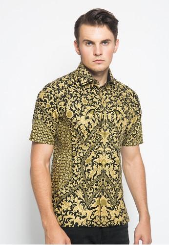 Alisan black and yellow Alisan Kemeja Batik Slimfit Lengan Pendek Hitam Kuning 09D1FAA804F2A0GS_1