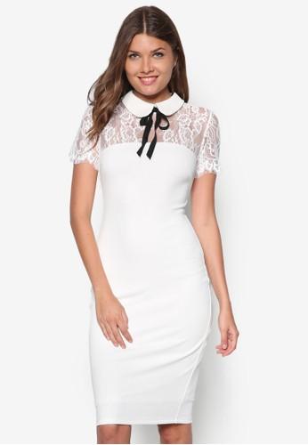 小圓領蕾zalora時尚購物網評價絲拼接洋裝, 服飾, 洋裝