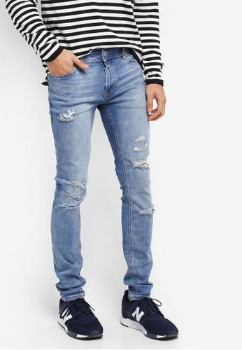 Jack & Jones 藍色 刷破修身牛仔褲 41F1EAA89C8D9BGS_1