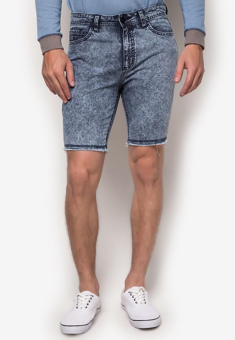 Acid Washed Denim Shorts with Frayed Edges