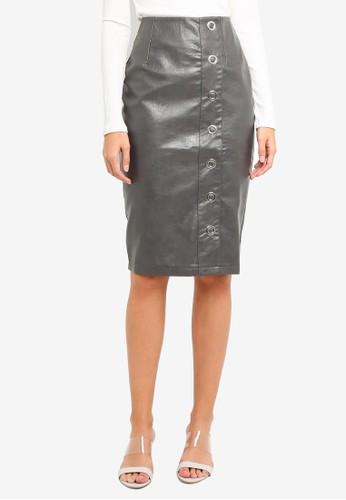 LOST INK grey Pu Eyelet Popper Pencil Skirt 8164BAA27AC099GS_1