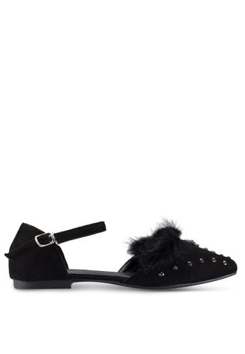 Berrybenka 黑色 人造毛皮鑽飾平底鞋 ADA3DSH0258E94GS_1