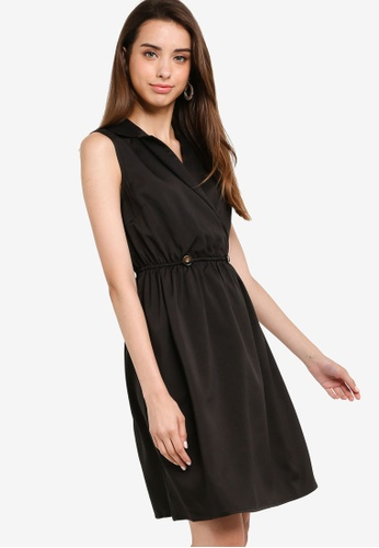 Basic Lapel Sleeveless Dress
