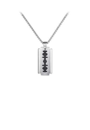 Glamorousky silver Fashion Personality Geometric Blade 316L Stainless Steel Pendant with Necklace E737BAC2574B84GS_1