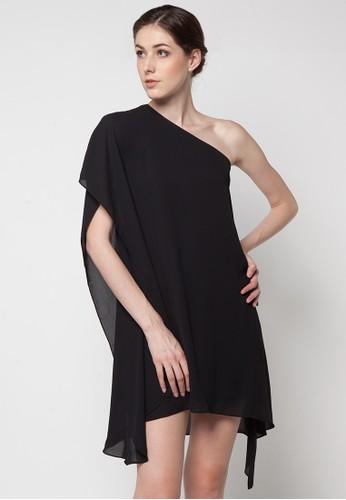 Etoile D'Elfas black Diana One Shoulder Assymetric Dress ET604AA34YIRID_1