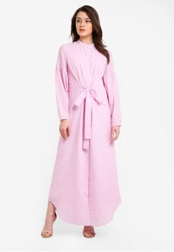 Zalia pink Puff Sleeve Shirt Dress 62307AAB49BCFEGS_1