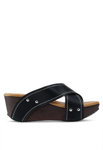 Noveni 黑色 交叉繞帶楔型涼鞋 A639ASHC4468C9GS_1