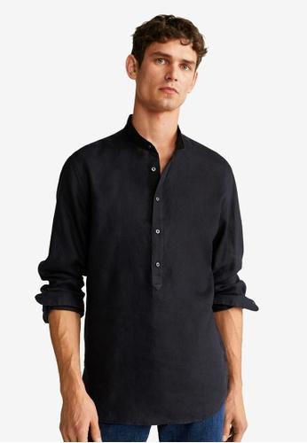 Mango Man black Regular Fit Linen Shirt 9BF33AA11D888DGS_1