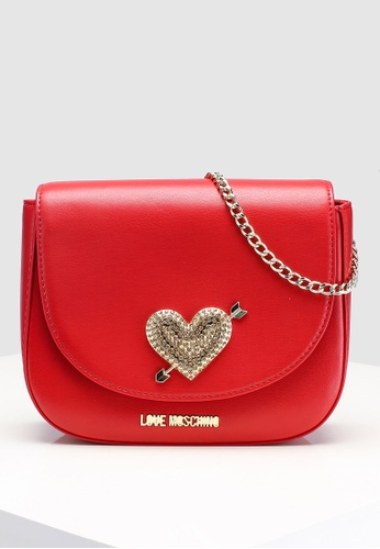 604142579c Love Moschino red Sling Bag With Heart Detail F59B2ACF76AB53GS 1