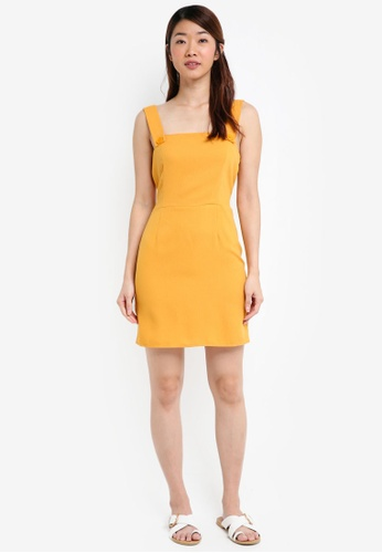 889490b758 Buy Miss Selfridge Ochre Pinafore Dress Online on ZALORA Singapore