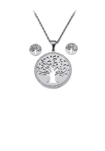 Glamorousky white Fashion and Elegant Hollow Tree Geometric Round 316L Stainless Steel Necklace and Stud Earring Set with Cubic Zirconia 8F306ACD341DA9GS_1