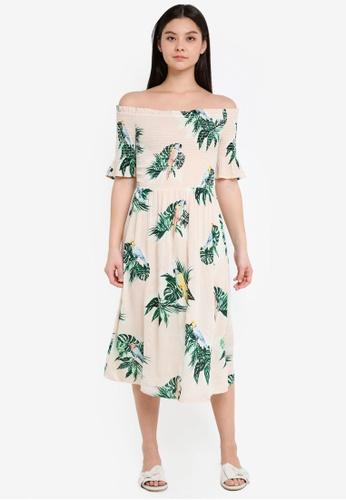 Dorothy Perkins beige Blush Parrot Print Midi Dress 98813AAF96C556GS_1