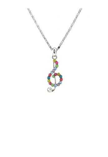 Glamorousky multi Musical Note Pendant with Multi-colour Austrian Element Crystals and Necklace D14D0ACFC623A6GS_1