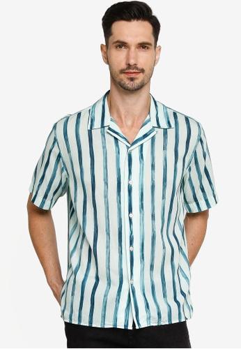Banana Republic green Camp Paint Stripe Shirt BA20CAA741EE6FGS_1
