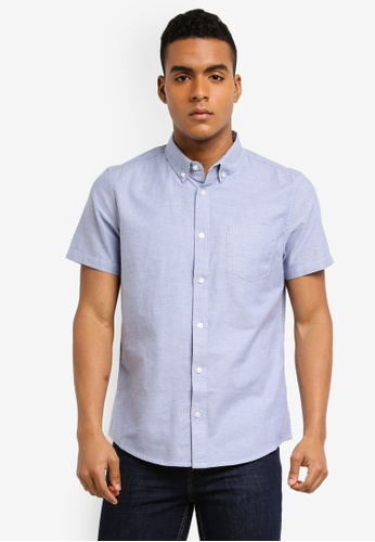 Burton Menswear London 藍色 Short Sleeve Blue Oxford Shirt 94537AA5A4A466GS_1