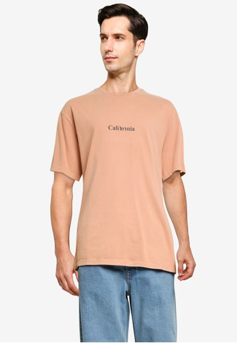 Topman beige Camel California T-Shirt FFF14AAE5EDD20GS_1