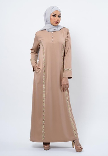 Bewa brown Peranakan Inspired Side Embroidery Jubah B0280AA34F3EFEGS_1