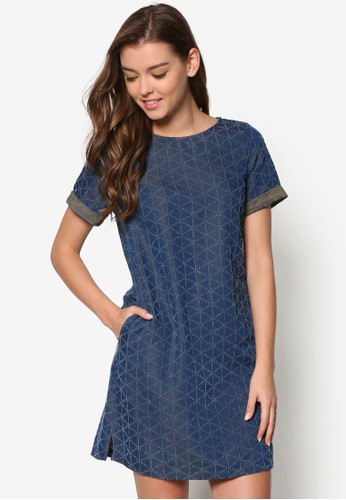 zalora 折扣碼幾何印花短袖連身裙, 服飾, 短洋裝