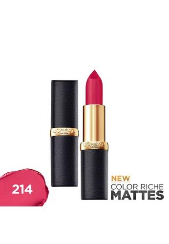L'Oréal Paris red Color Riche Mattes 214 Raspberry Syrup Matte Lipstick 546EABE37CDABAGS_1