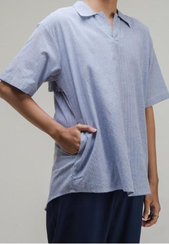 THE GOODS DEPT blue ANDERS - Alfie Short Sleeve Shirt Blue 6A195AA7ED24D5GS_1