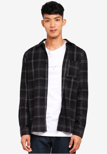 Cotton On 黑色 長袖格紋襯衫 4C1BEAAB5186A4GS_1