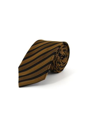 Gay Giano gold Classic Stripe Silk Tie 150BEACF300714GS_1