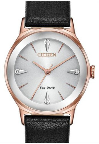Citizen black Citizen Eco-Drive EM0733-08A Rose Gold and Black Leather Watch AC858ACDBA4A4FGS_1