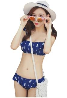 99e1ddf6b2 LVV88783 Lady Bikini Set with Long Sleeve Beachwear 4 pieces Set Blue  D5ECFUSECFA5F3GS 1
